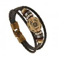 Black Gallstone Zodiac Evidence Leather Bracelet