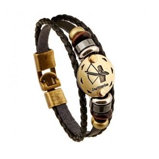 Black Gall-stone Zodiac Evidence Leather Bracelet