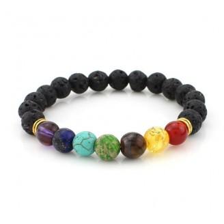 Multicolor Balance Chakra Healing Lava Stone Bracelet