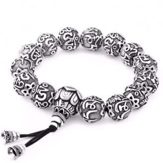 Ancient Lotus Silver Prayer Beads Bracelet