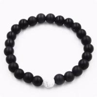 Matte Black White Vein Couple Distance Bracelets [3 Variants]
