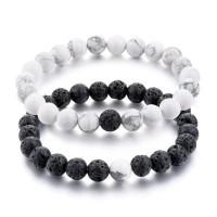 Black Lava Stones along with White Howlite Beads Distance Bracelets [Set of 2]
