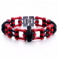 Color: Triple Black Skull Red Chain