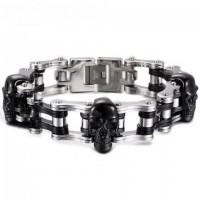 Color: Triple Black Skull Silver Chain