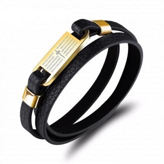 Prayer Plate Wraparound Leather Bracelet [Two Variants]