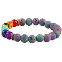 Rainbow Lava Rock 7 Chakra Healing Stone Beaded Bracelet