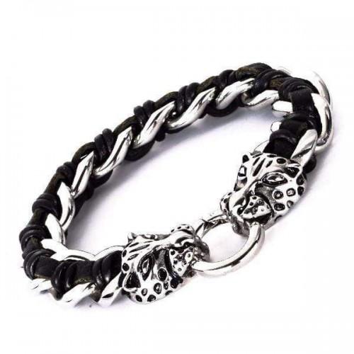 Hyena Stainless Chain Leather Bracelet [2 Variants]