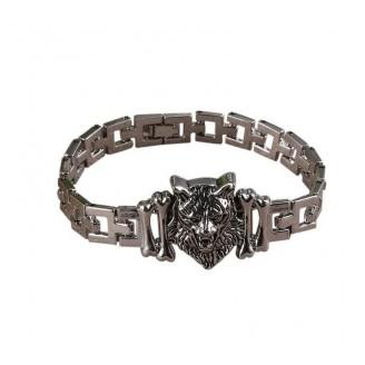 Wolf Head Stainless Steel Charm Bracelet