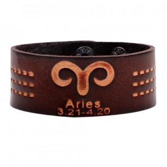 Vintage Zodiac Sign Zodiac Leather Cuff Bracelet [1 2 Variants]