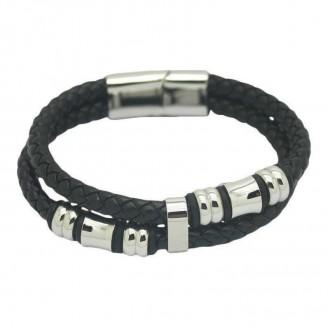 Stainless Steel Genuine Leather Men's Bracelet [2 Variants]