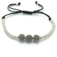 18K Gold Plated Beads 3 Diamond Ball Unisex Bracelet [4 Variants]