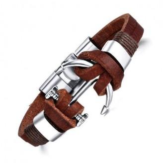 Vintage Nautical Anchor Leather Bracelet