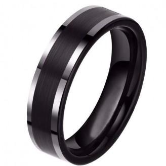 Engravable Black Tungsten Carbon Fiber Inlay Ring