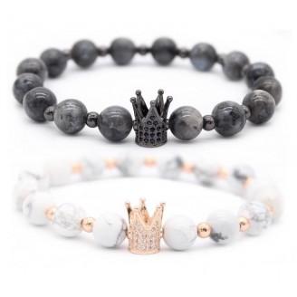 King Crown Charm Distance Black & White Beaded Bracelet [Two Variants]