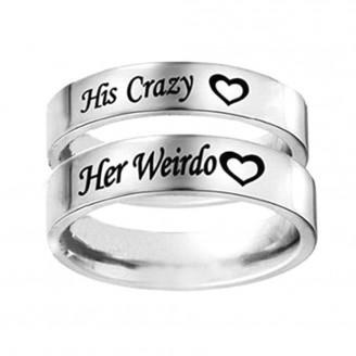 Titanium Steel Cute'Her Weirdo, His Crazy' Couple Ring