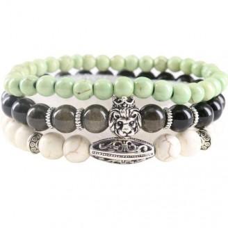 Natural Stones Lion Charm Beaded Bracelet Place [19 Variants]