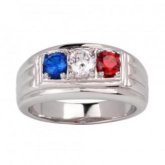 France Flag Sterling Silver Ring