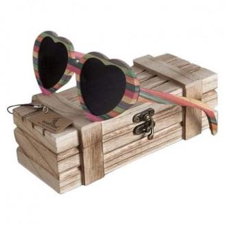 Heart Chromatic Bamboo Wood Sunglasses [3 Variants]