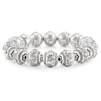 Silver Buddhist Prayer Beaded Bracelet