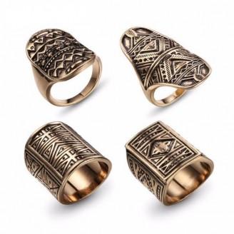 Tribal Patterned Boho Ring Set [4 Rings] [2 Colors]