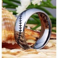 Silver Dome Baseball Stitch Titanium Tungsten Carbide Ring