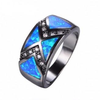 Blue Double Arrow Opal Crystal Ring