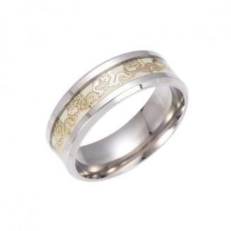 Luminous Chinese Dragon Steel Ring