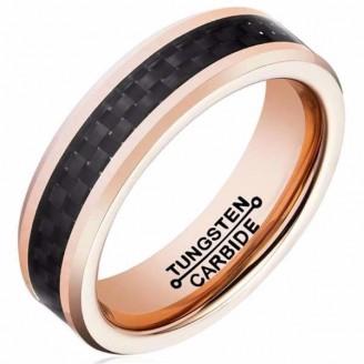 Black Plain Weave Tungsten Rose Gold Ring