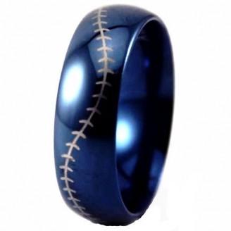 Blue Dome Baseball Stitch Tungsten Carbide Ring