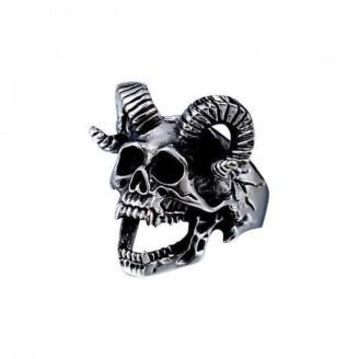 Stainless Steel Skull Goat Head Punk Ring