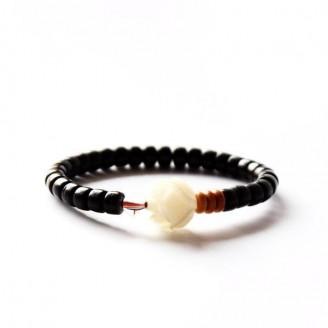 Coconut Shell White Rose Bodhi Seed Charm Bracelet