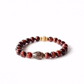 Red Tiger Eye Stone Tibetan Rudraksha Beads Bracelet