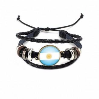 Argentina National Flag Layered Leather Bracelet