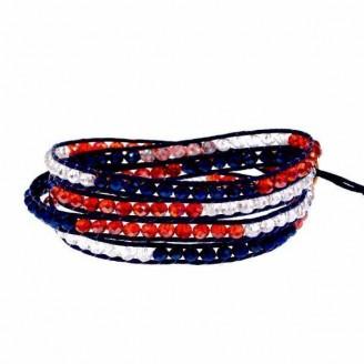 Australia National Flag Crystal Beaded Wrap Bracelet