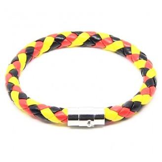 Belgium Flag Braided PU Leather Bracelet