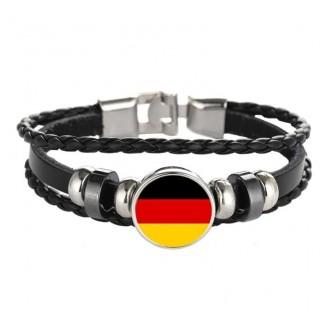 Germany National Flag Layered Leather Bracelet