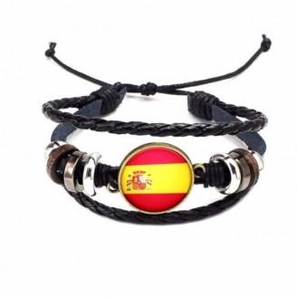Spain National Flag Layered Leather Bracelet