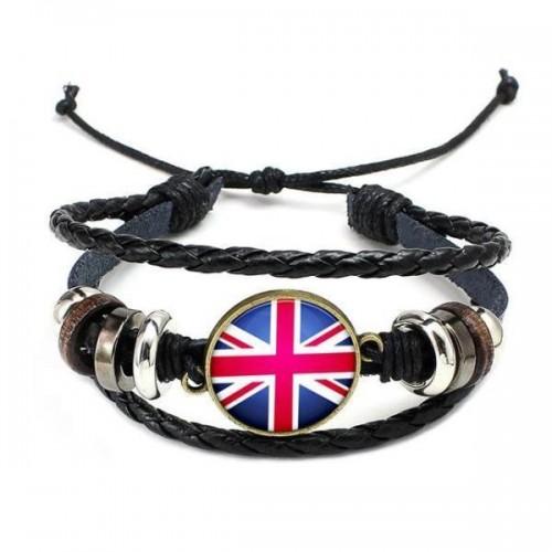 UK National Flag Layered Leather Bracelet
