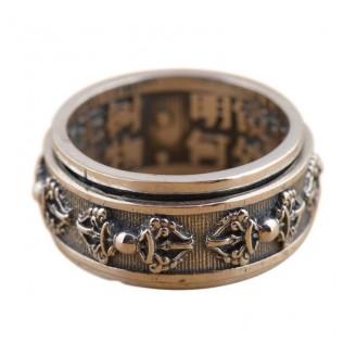 Sterling Silver Elegant Spinning Buddhist Mantra Ring
