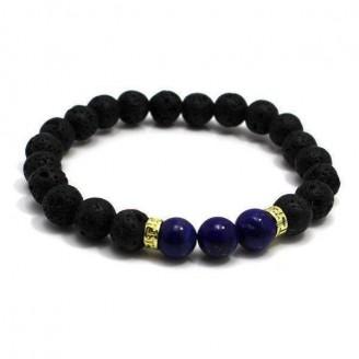 Organic Lava and Blue Agate Stone Bracelet