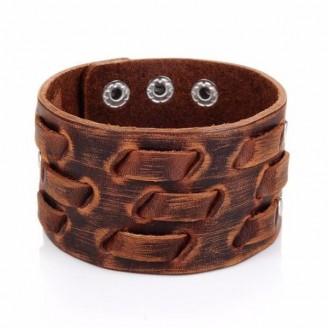 Retro Vintage Wide Brown Leather Cuff Bracelet [12 Variants]
