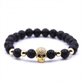 Natural Lavastone Skull Shamballa Bracelet