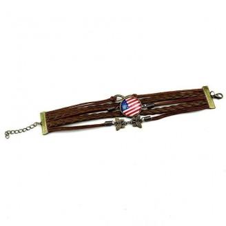 Adjustable Support America Leather Charm Bracelet
