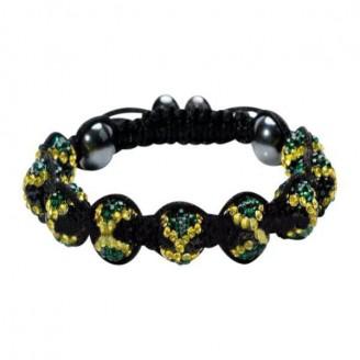 Jamaican Flag Crystals Shamballa Bracelet