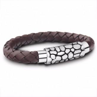 Vintage Brown Braided Rope Leather Bracelet