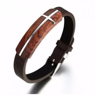 Silver Cross-Patterned Retro Rosewood Leather Bracelet