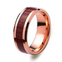 Padauk Wood Inlay Rose Gold Tungsten Carbide Ring