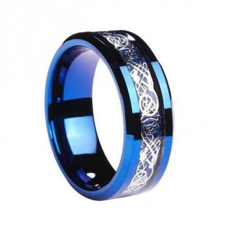 Elegant Silver Inlay Blue Tungsten Carbide Ring
