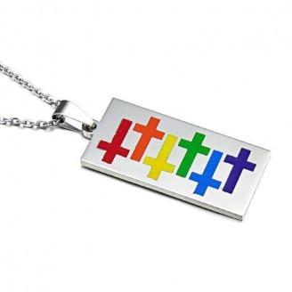 Rainbow Cross LGBT Pride Dog Tag Pendant Necklace