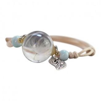 Flowers Glass Ball with Leaf Charm Ceramic Bracelets [5 Variants]